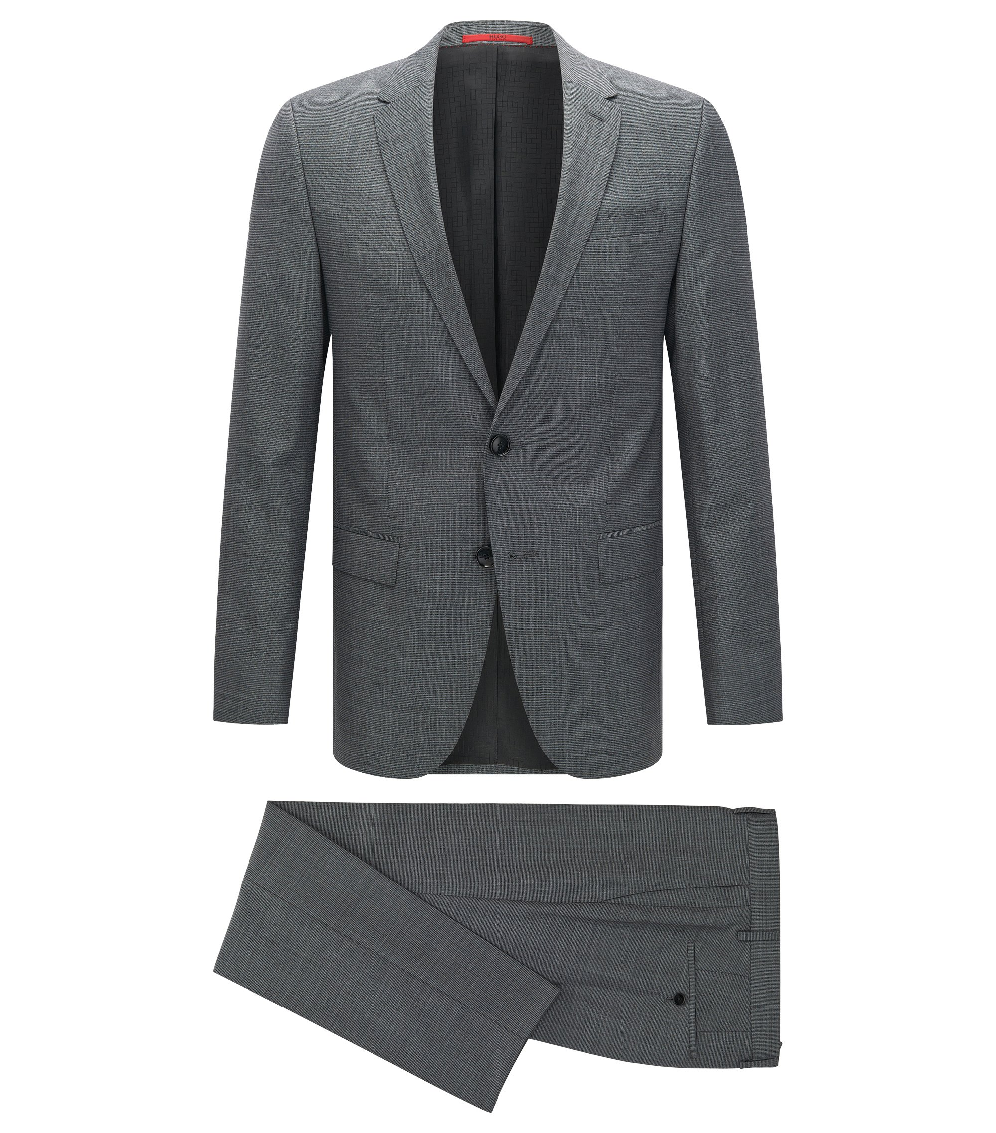 Slim-fit graph check suit in yarn-dyed virgin wool , Grey