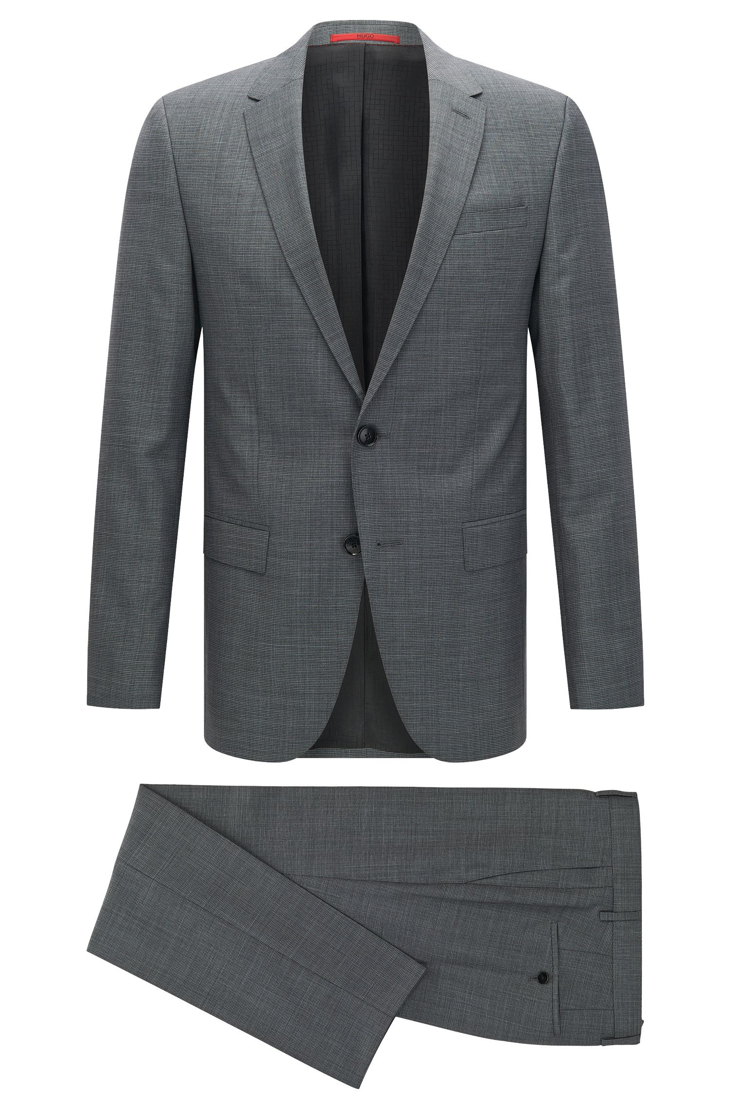 Slim-fit graph check suit in yarn-dyed virgin wool