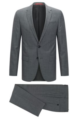 Slim-fit graph check suit in yarn-dyed virgin wool , Open Grey