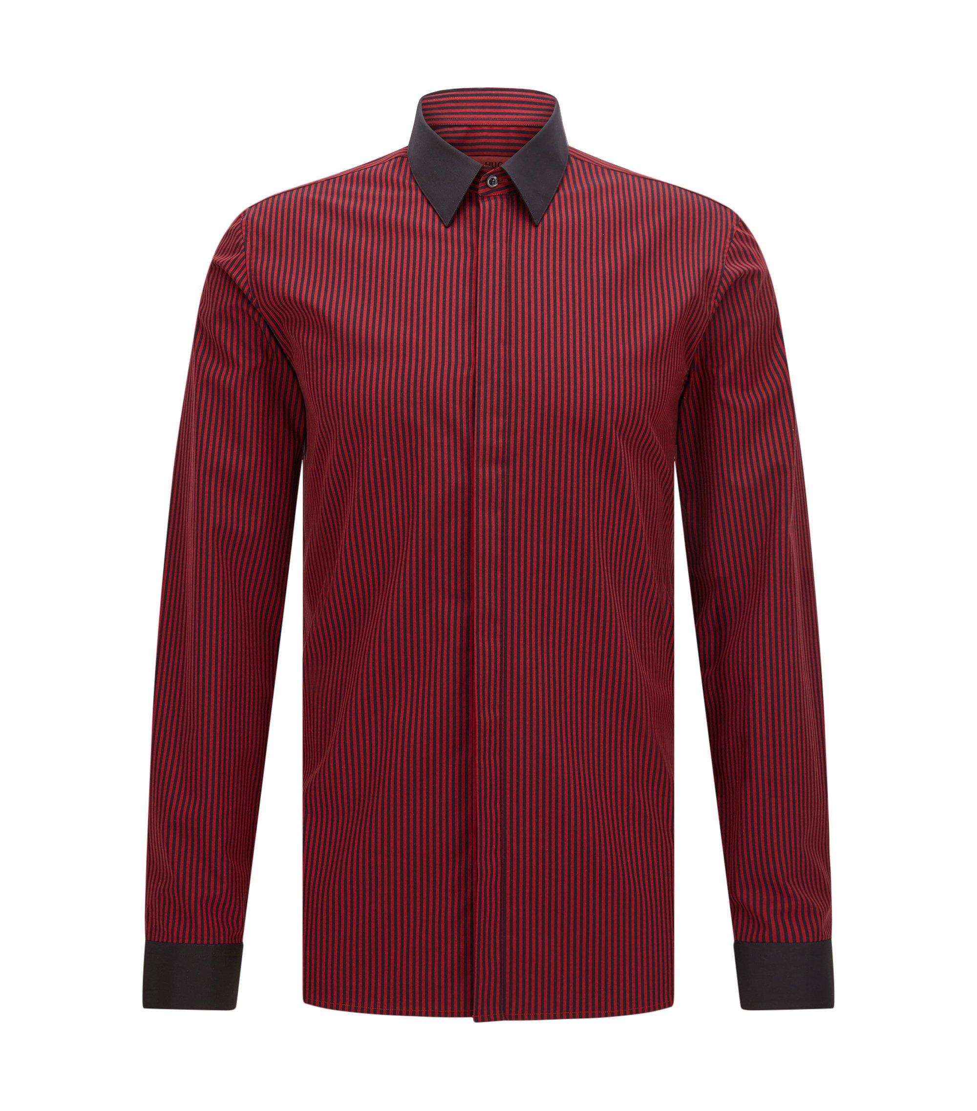 Chemise Extra Slim Fit en coton à rayures verticales, Rouge