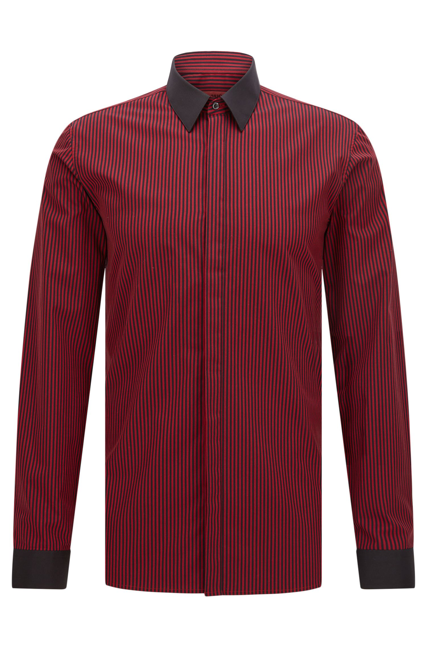Extra-slim-fit shirt in cotton with vertical stripes
