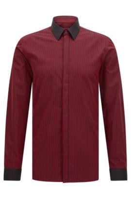 Extra Slim-Fit Hemd aus Baumwolle mit Längsstreifen, Rot
