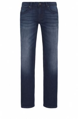 Jeans Slim Fit en denim super stretch , Bleu foncé