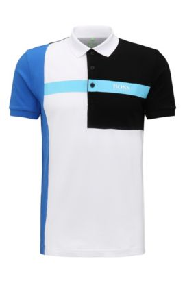 Regular-fit poloshirt van stretchpiqué, Wit