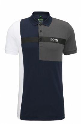 Regular-fit polo shirt in stretch piqué, Dark Blue