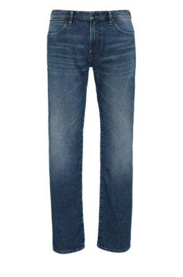 Jeans Regular Fit en coton mélangé de poids moyen, Bleu foncé
