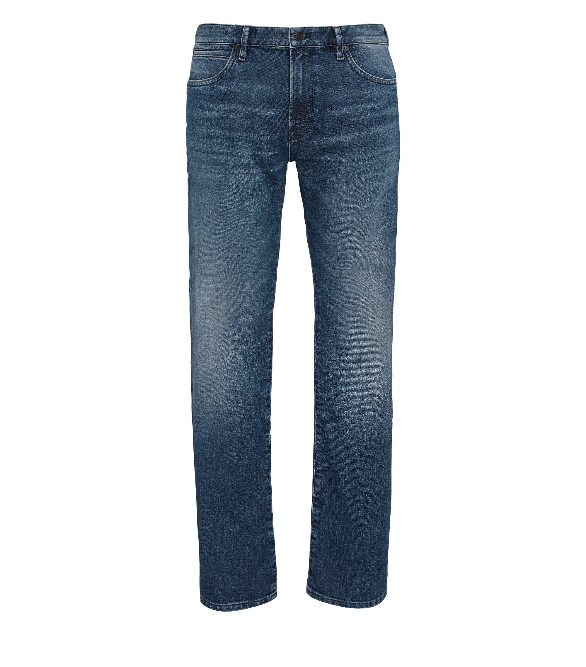 Regular-Fit Jeans aus mittelschwerem Baumwoll-Mix, Dunkelblau