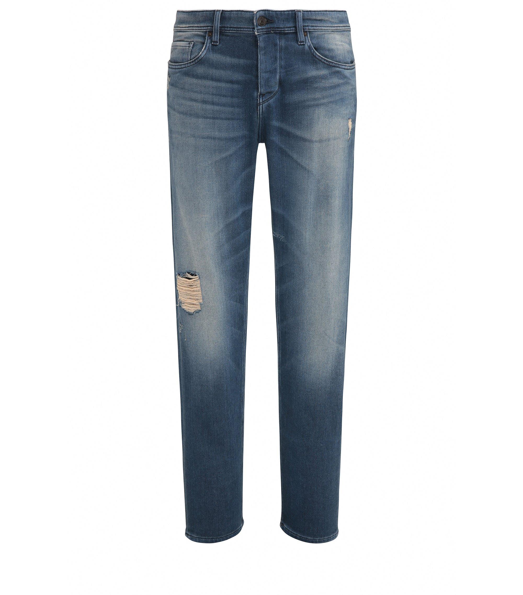 Jeans Tapered Fit en coton stretch confortable, Bleu