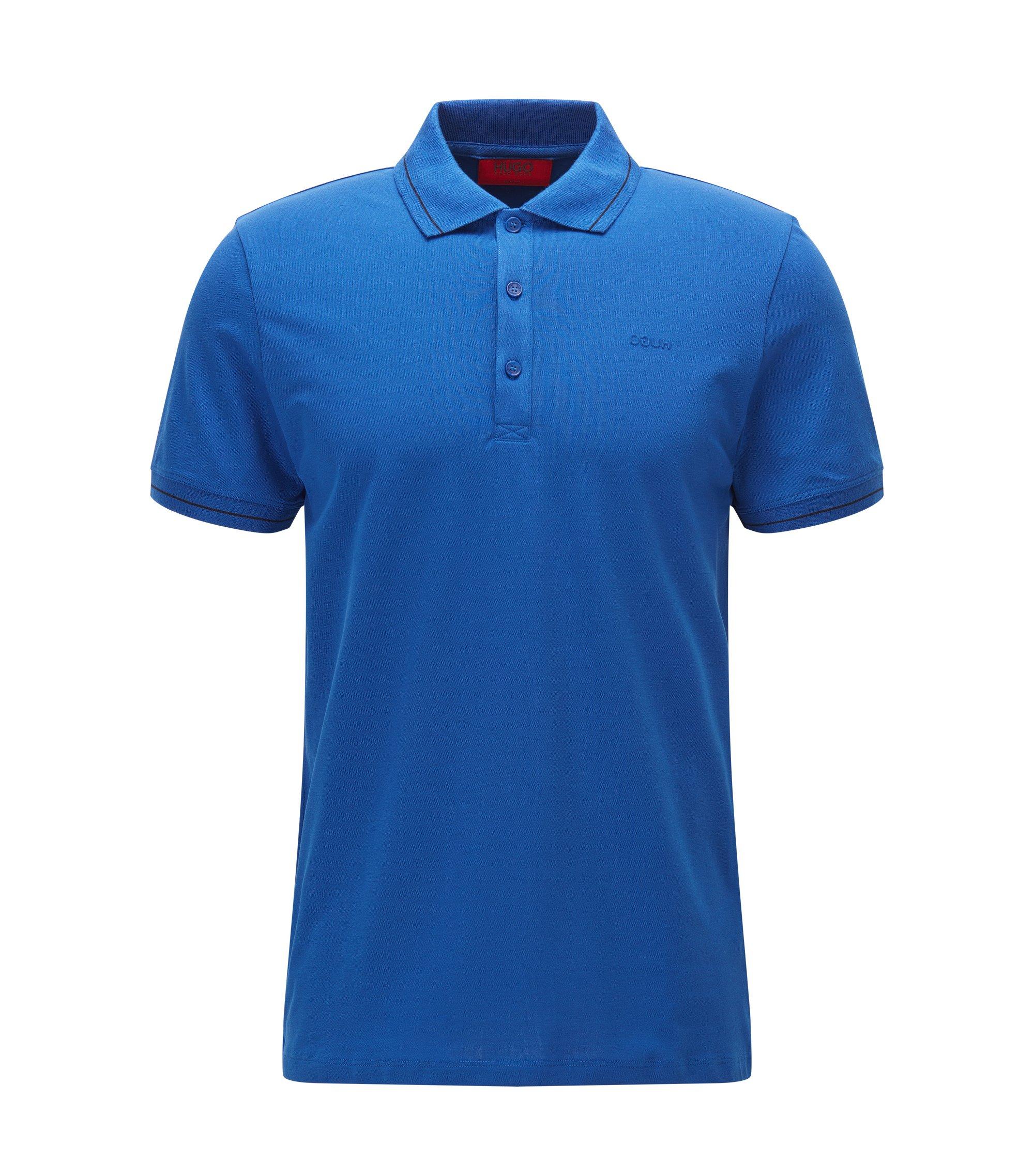 Lightweight slim-fit polo shirt in stretch piqué, Blue