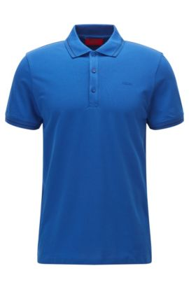 Lightweight slim-fit polo shirt in stretch piqué, Open Blue