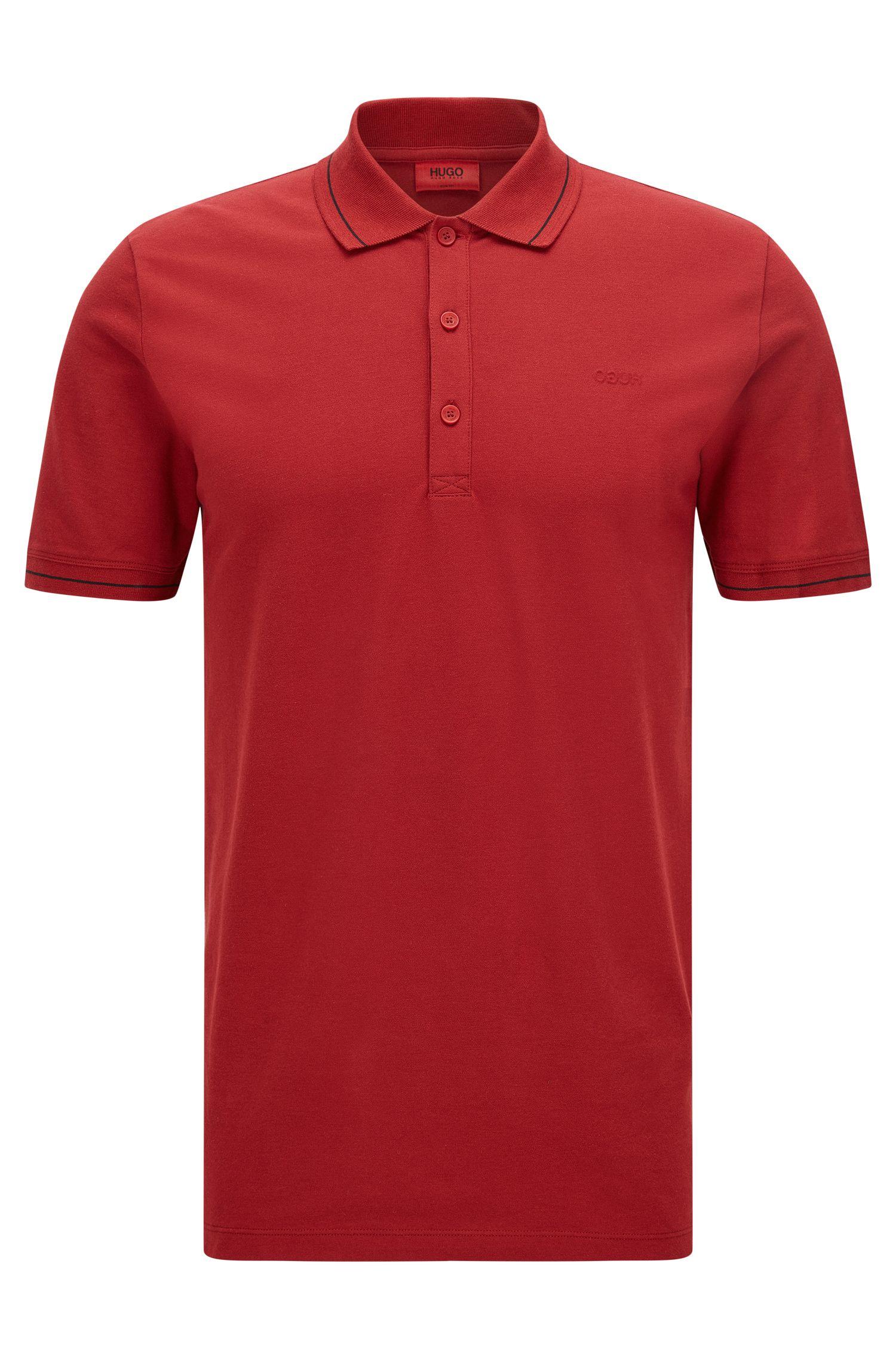 Lightweight slim-fit polo shirt in stretch piqué
