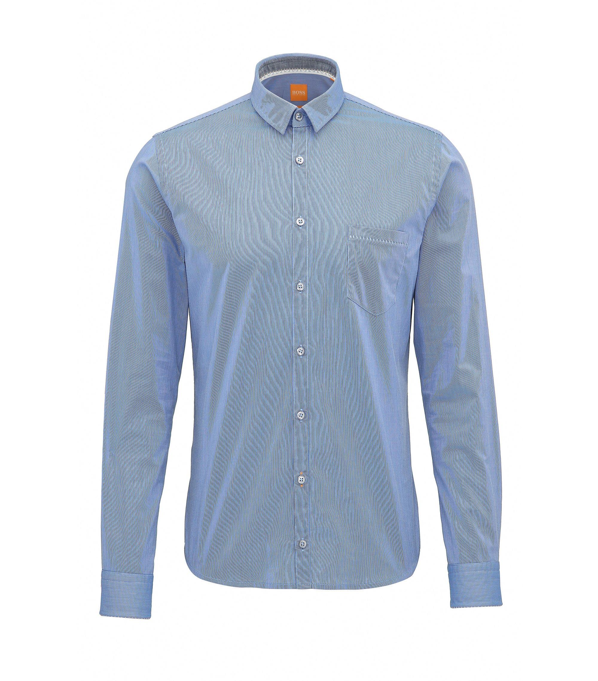 Chemise Extra Slim Fit en coton façonné, Bleu foncé
