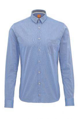 Camicia extra slim fit in cotone dobby, Blu scuro