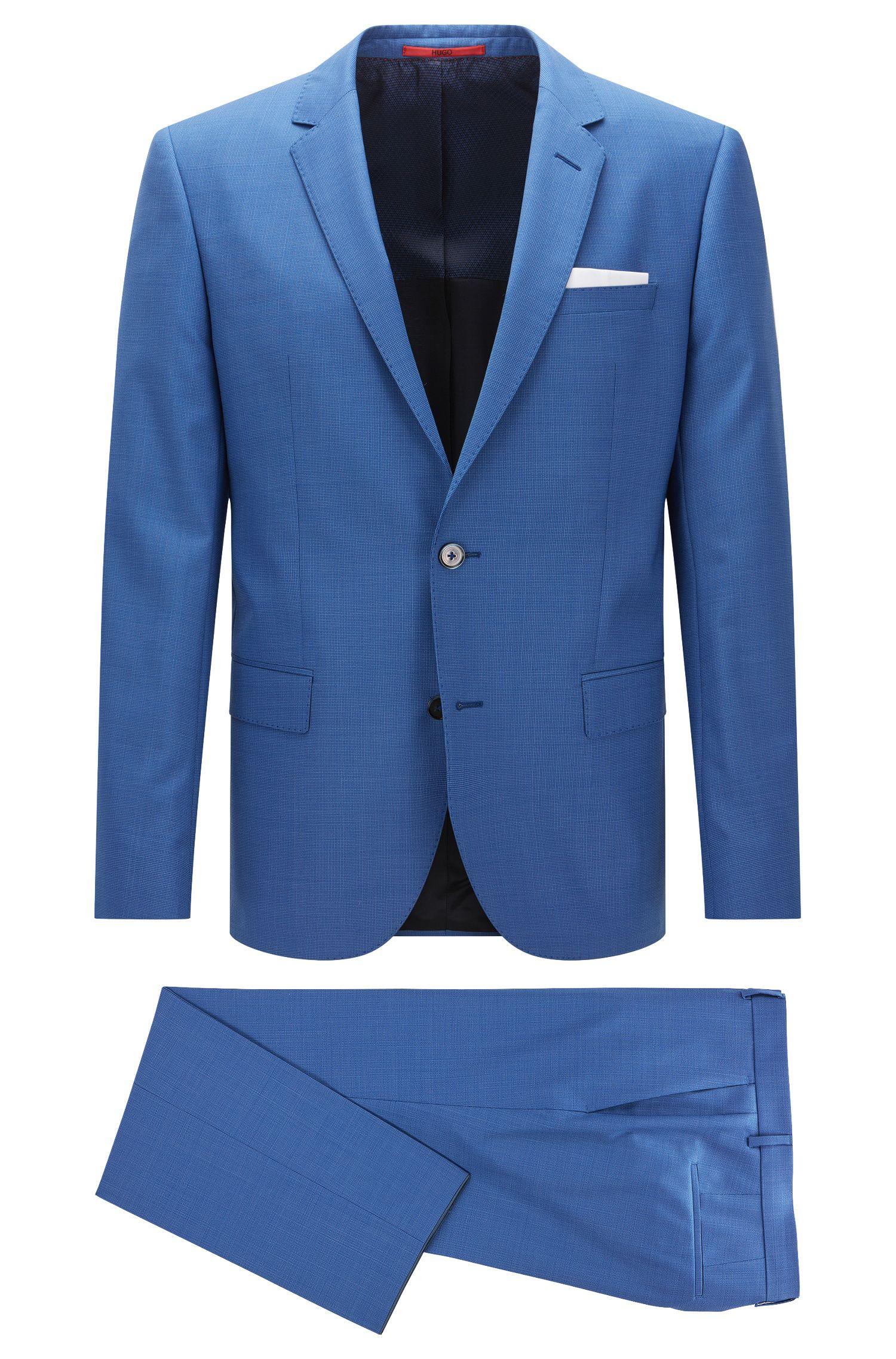 Slim-fit suit in dyed virgin wool