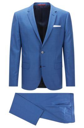 Slim-fit suit in dyed virgin wool, Open Blue