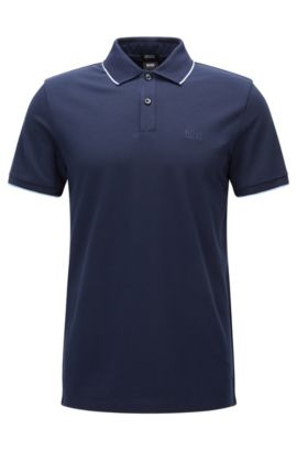 Polo in cotone regular fit con motivi a contrasto , Blu scuro