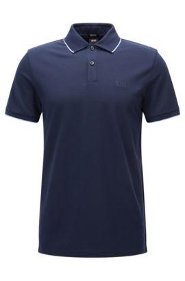 Polo Regular Fit en coton avec bordure contrastante , Bleu foncé