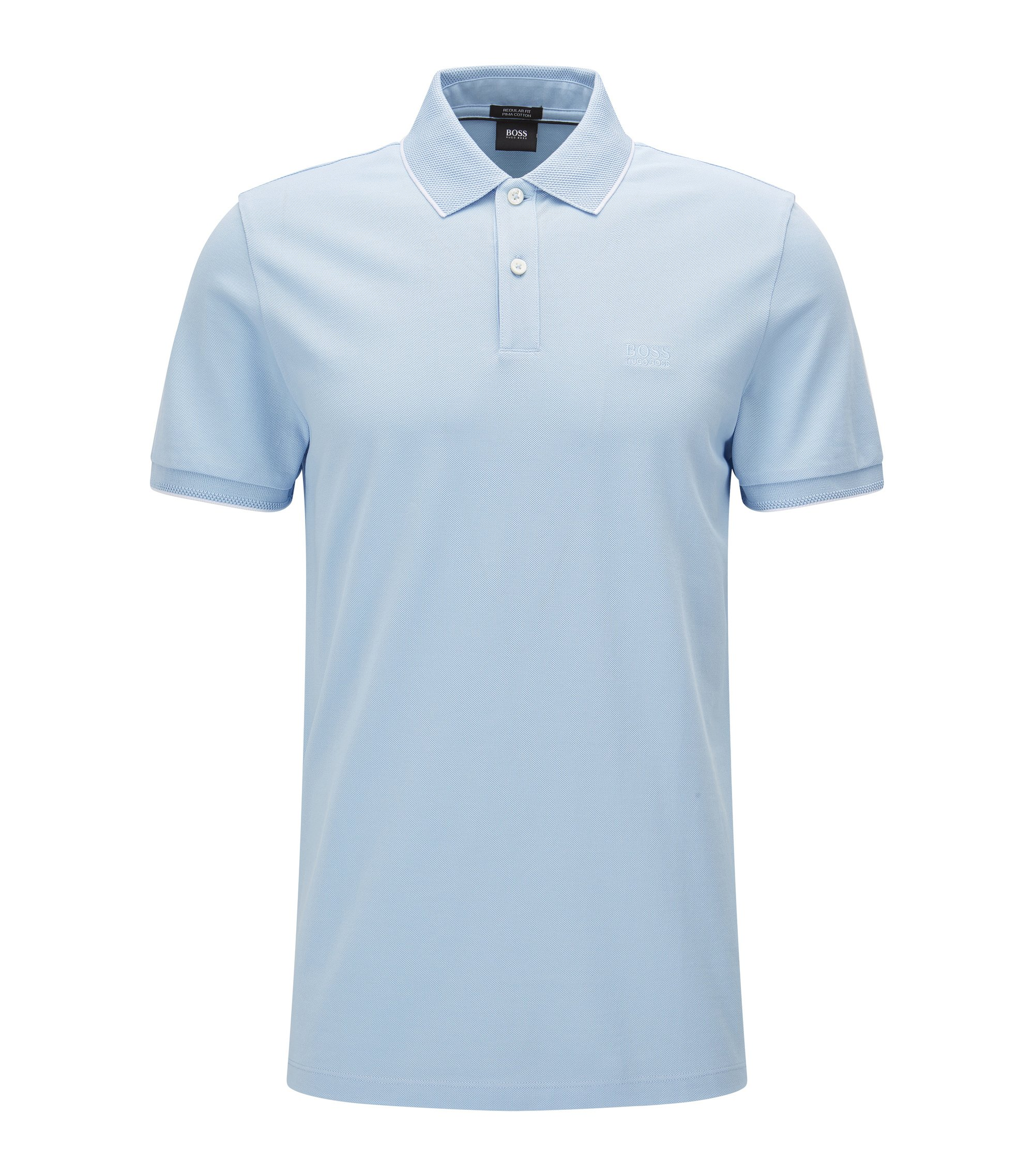 Regular-fit cotton polo shirt with contrast tipping , Dark Blue
