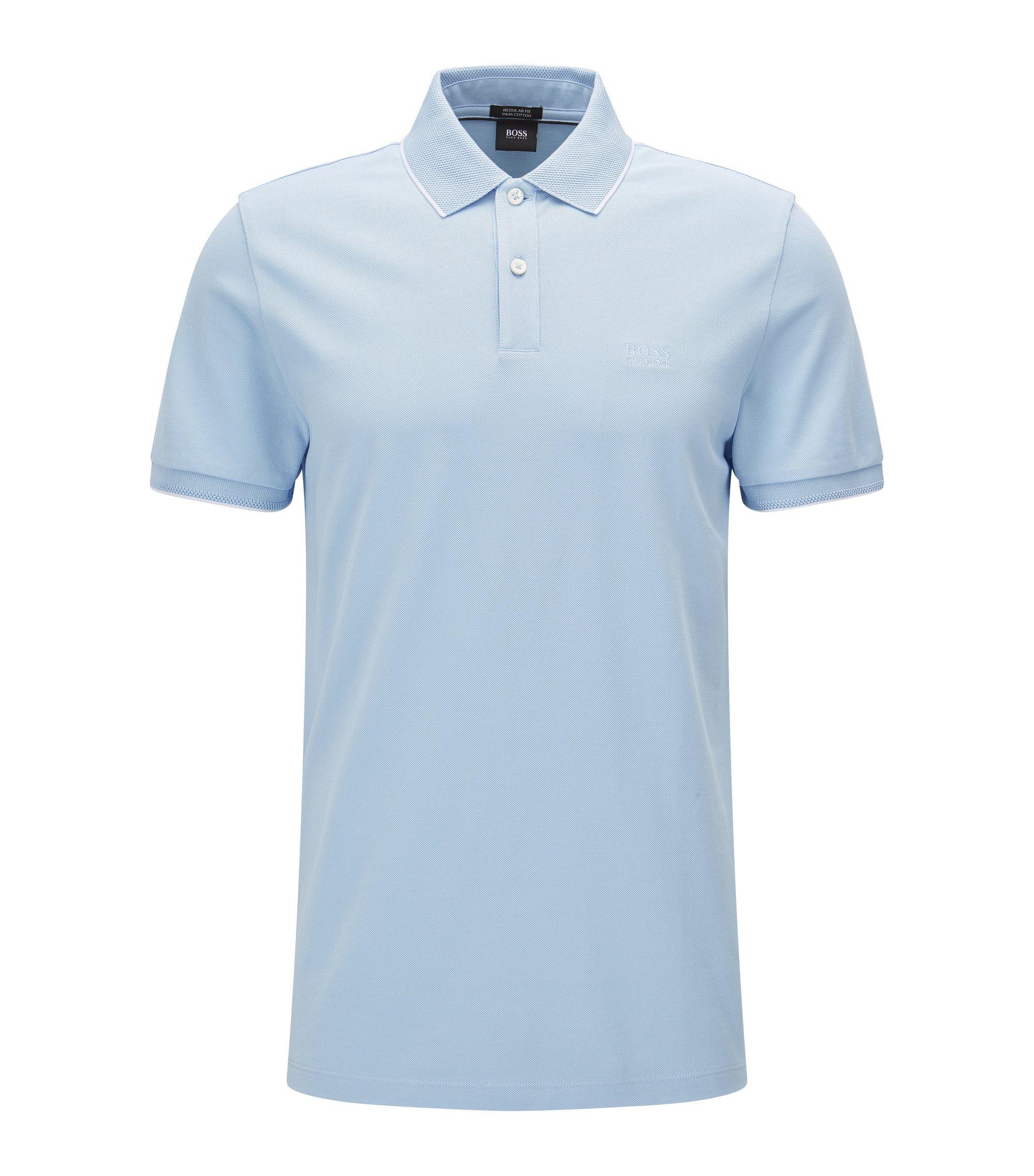 Regular-Fit Poloshirt aus Baumwolle mit kontrastfarbener Einfassung, Dunkelblau