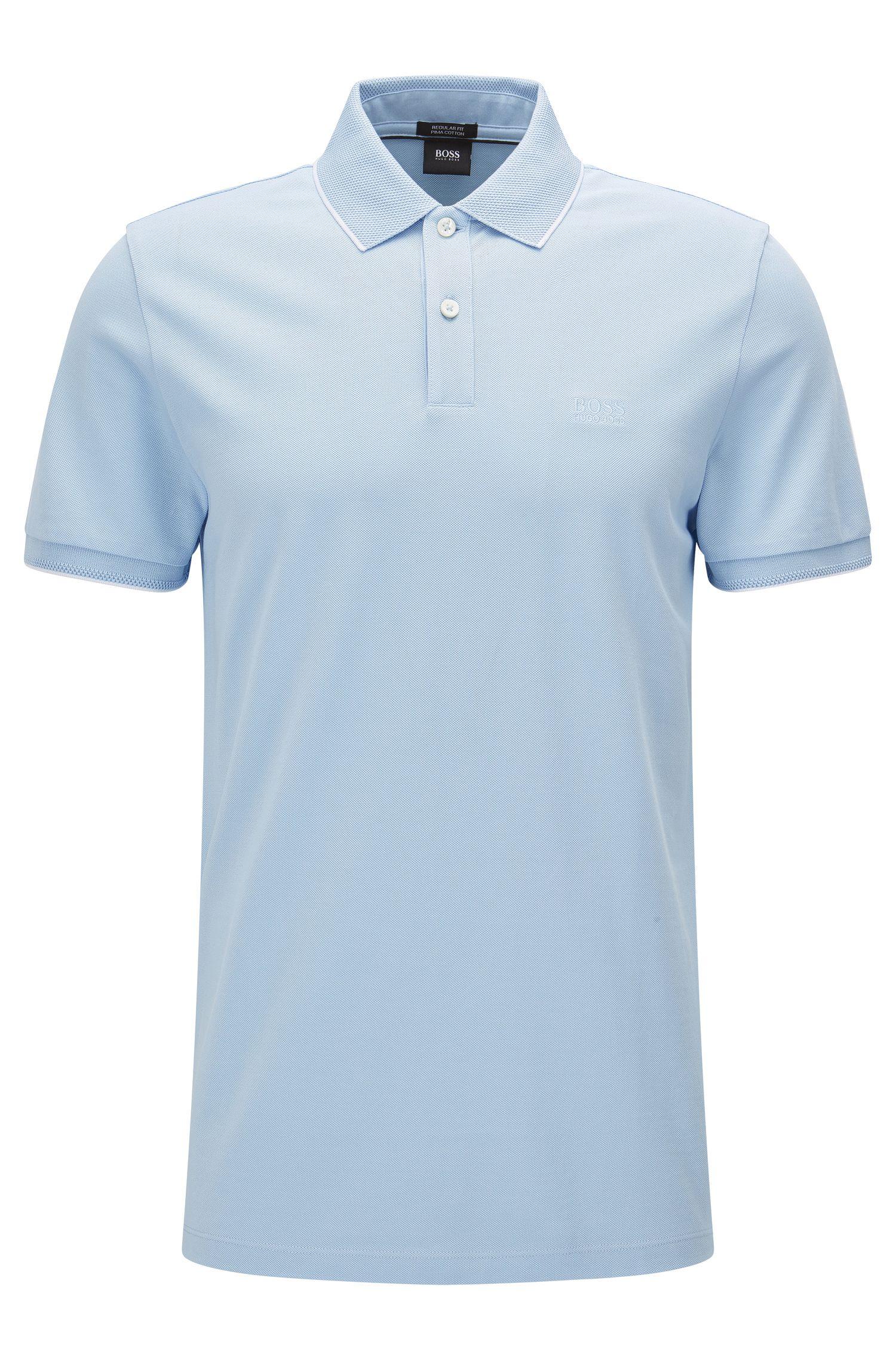 Polo in cotone regular fit con motivi a contrasto