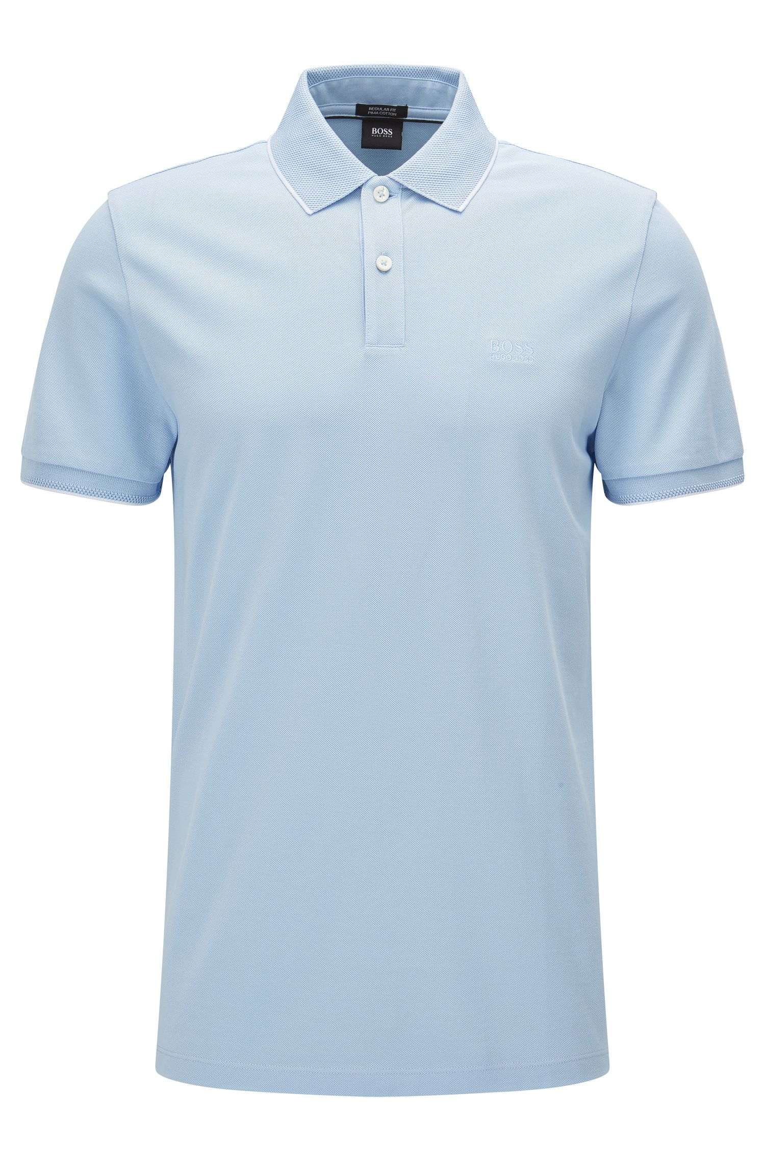 Regular-fit cotton polo shirt with contrast tipping