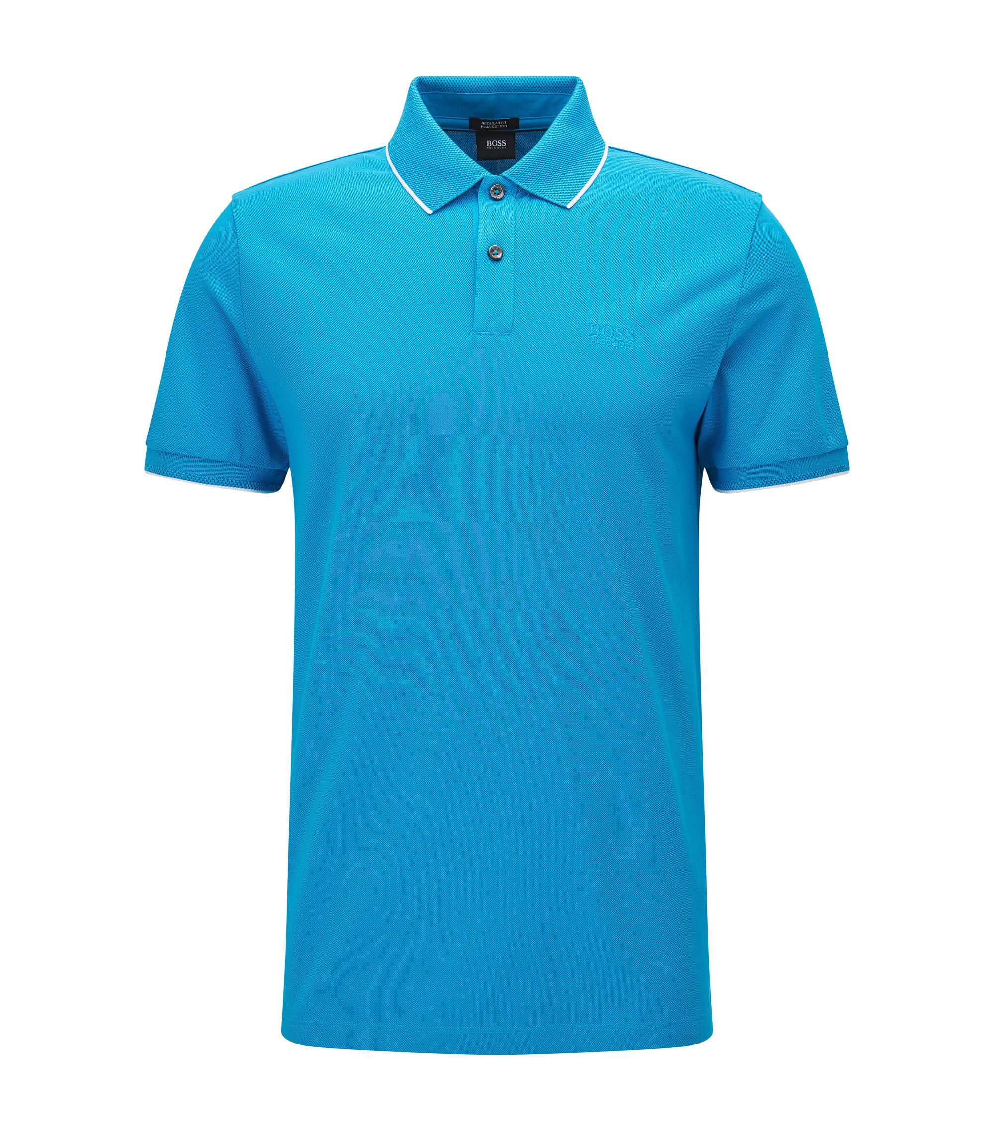 Regular-Fit Poloshirt aus Baumwolle mit kontrastfarbener Einfassung, Türkis