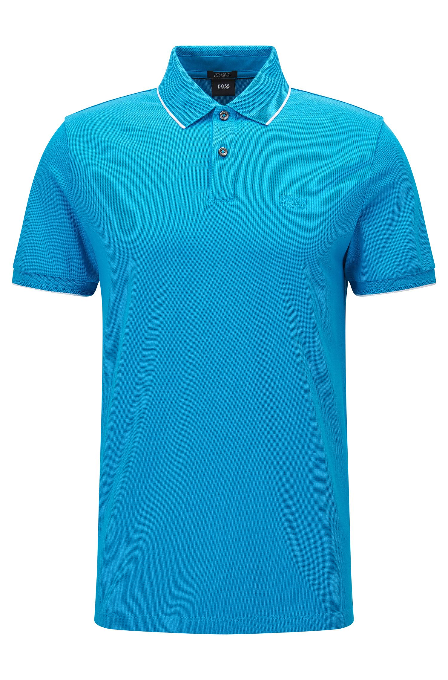 Polo in cotone regular fit con motivi a contrasto