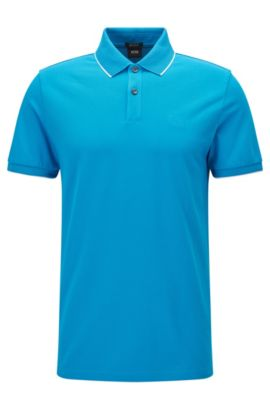 Polo in cotone regular fit con motivi a contrasto , Turchese