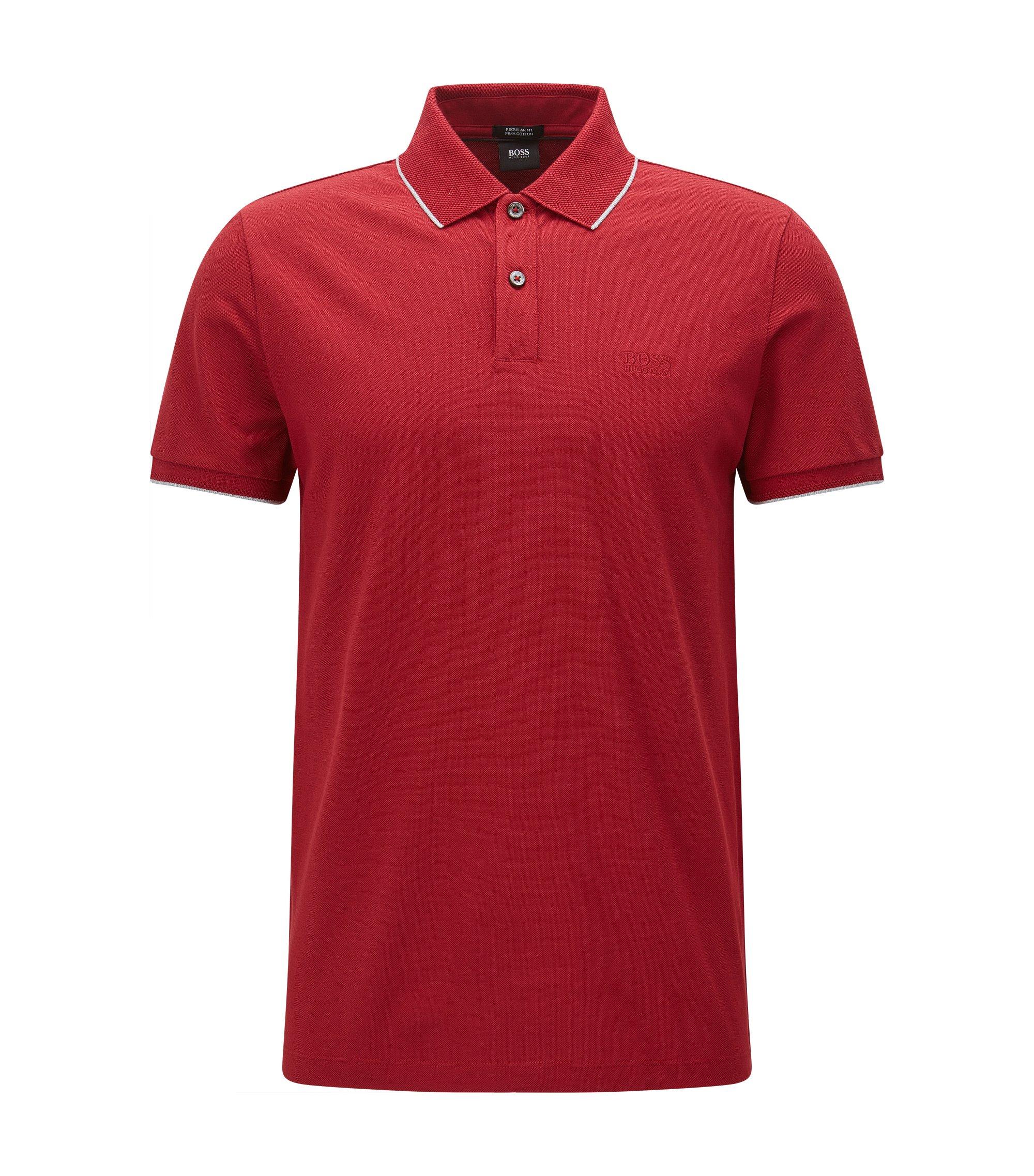 Regular-Fit Poloshirt aus Baumwolle mit kontrastfarbener Einfassung, Rot