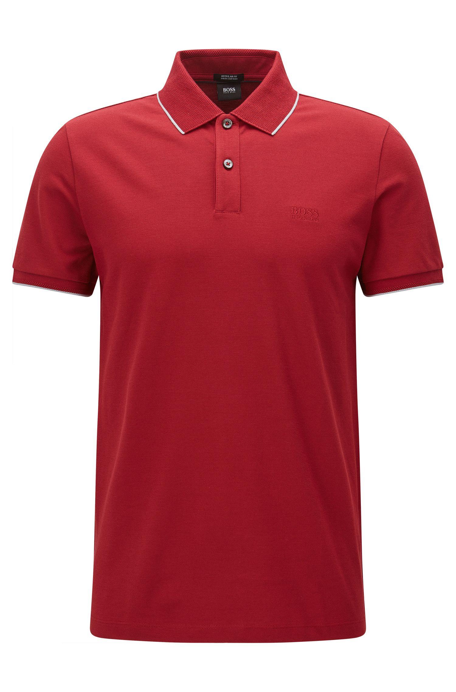 Regular-Fit Poloshirt aus Baumwolle mit kontrastfarbener Einfassung