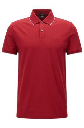 Polo in cotone regular fit con motivi a contrasto , Rosso