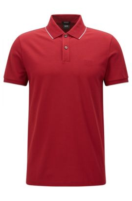 Polo regular fit en algodón con ribete en contraste , Rojo