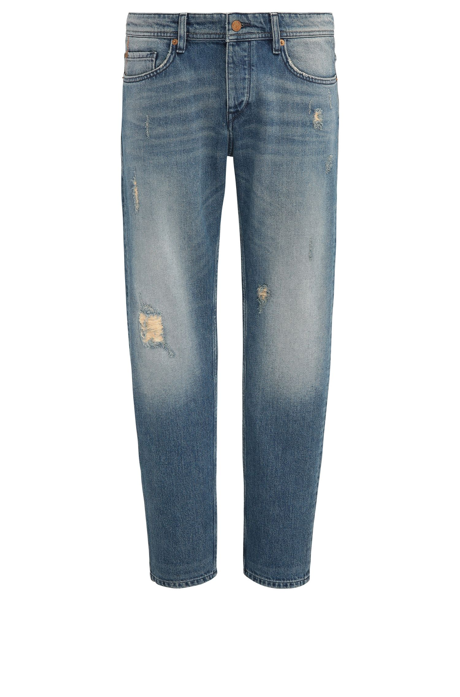 Tapered-fit jeans van denim met vintage-effect