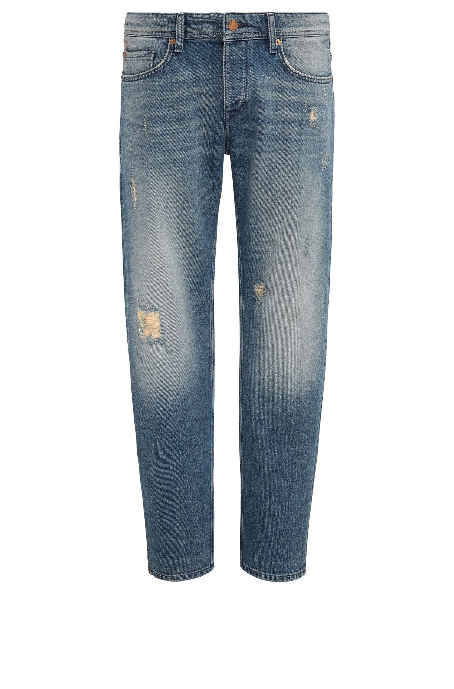 Tapered-Fit Jeans aus Denim mit Vintage-Effekt