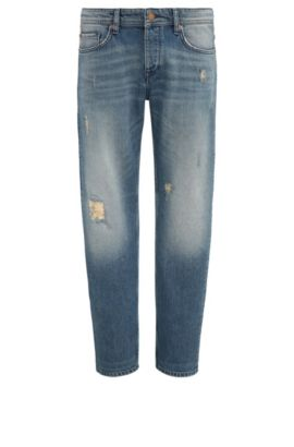 Tapered-fit jeans van denim met vintage-effect, Blauw