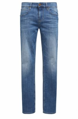 Jeans slim fit in twill di denim a tratteggi incrociati, Blu