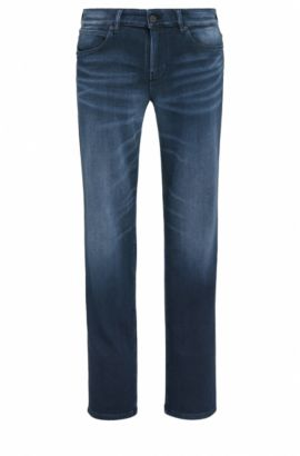 Jeans slim fit in denim italiano, Blu scuro