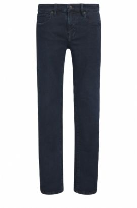 Slim-fit jeans in dobby stretch denim , Dark Blue