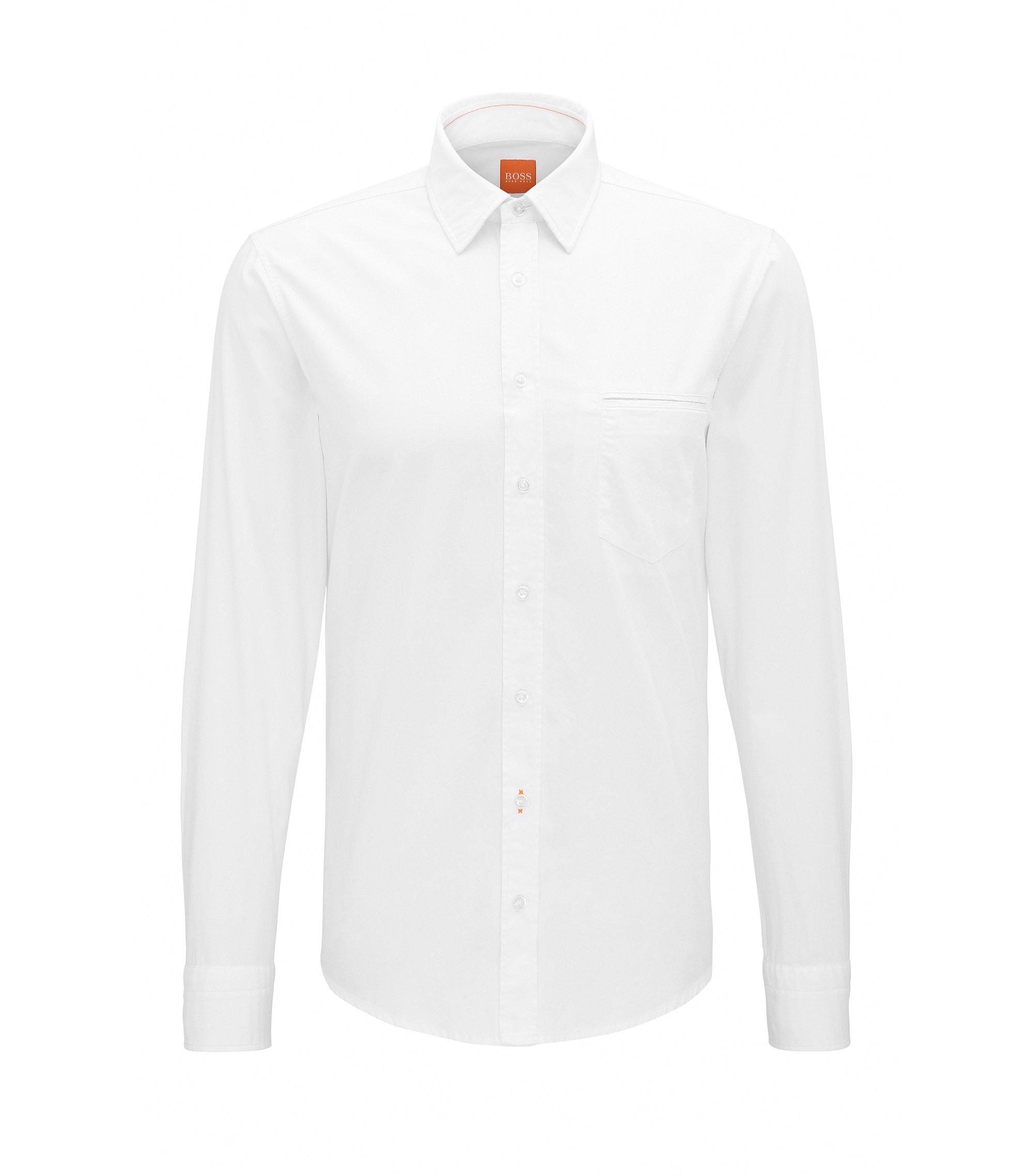 Regular-fit shirt in yarn-dyed cotton, White