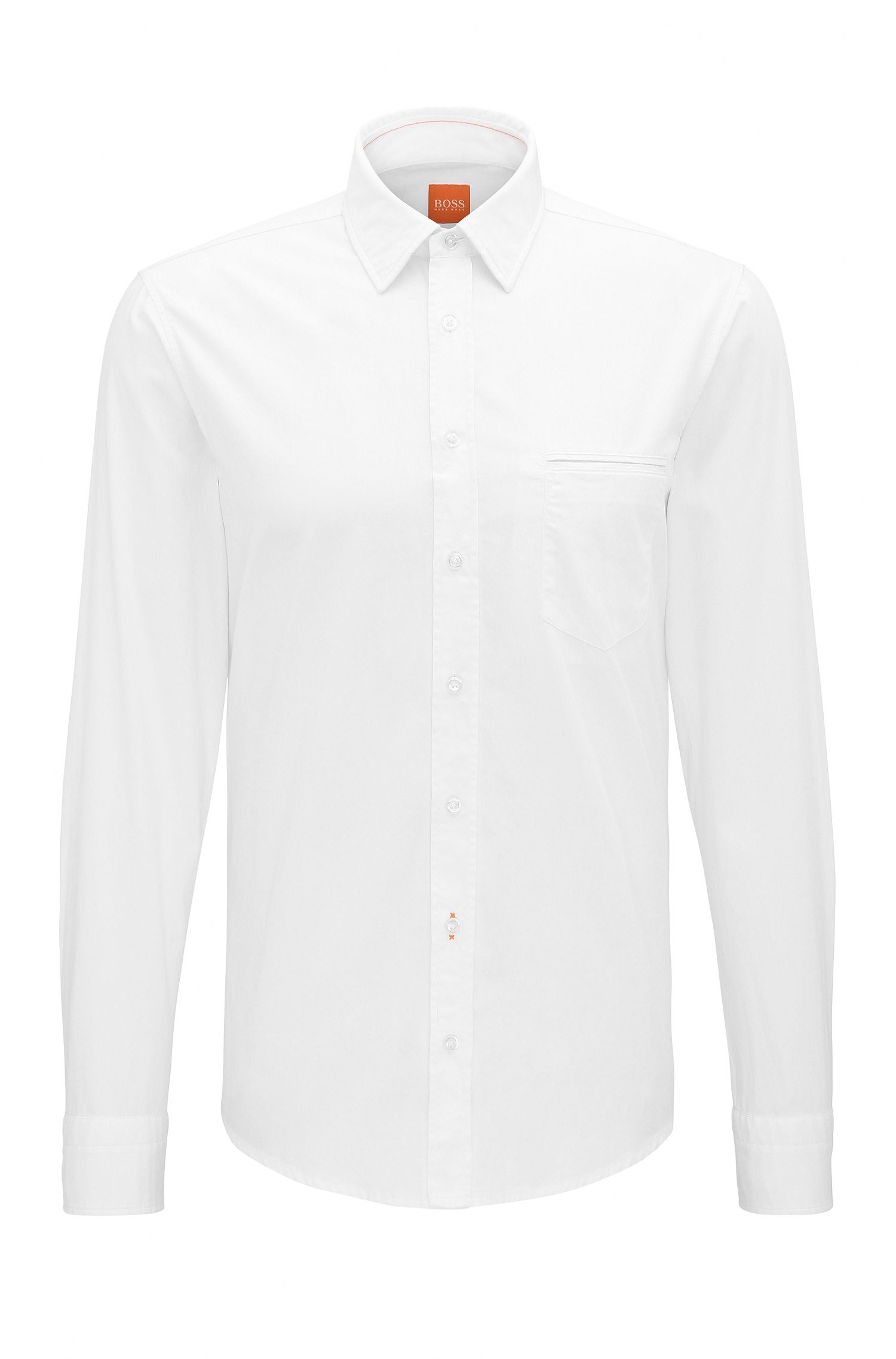 Camicia regular fit in cotone tinto in capo
