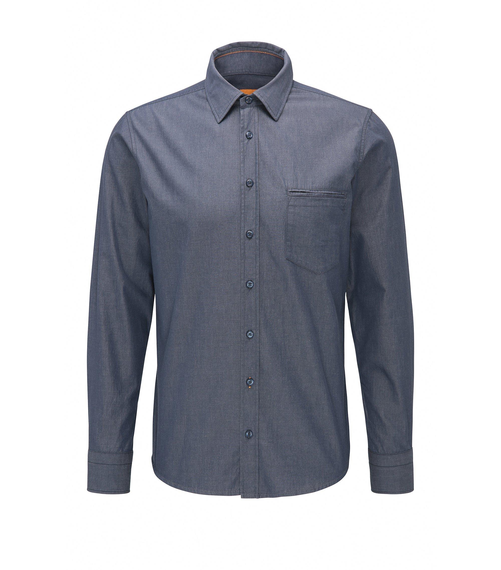 Regular-fit overhemd van garengeverfd katoen, Donkerblauw