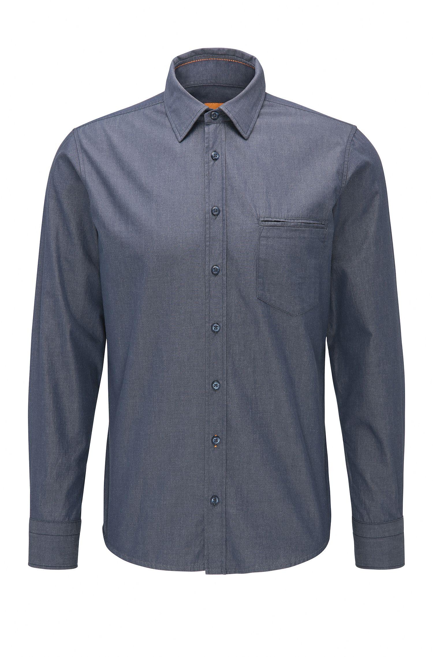 Regular-fit overhemd van garengeverfd katoen
