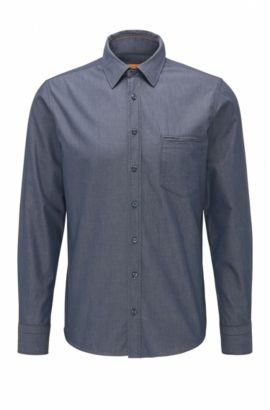 Regular-fit shirt in yarn-dyed cotton, Dark Blue