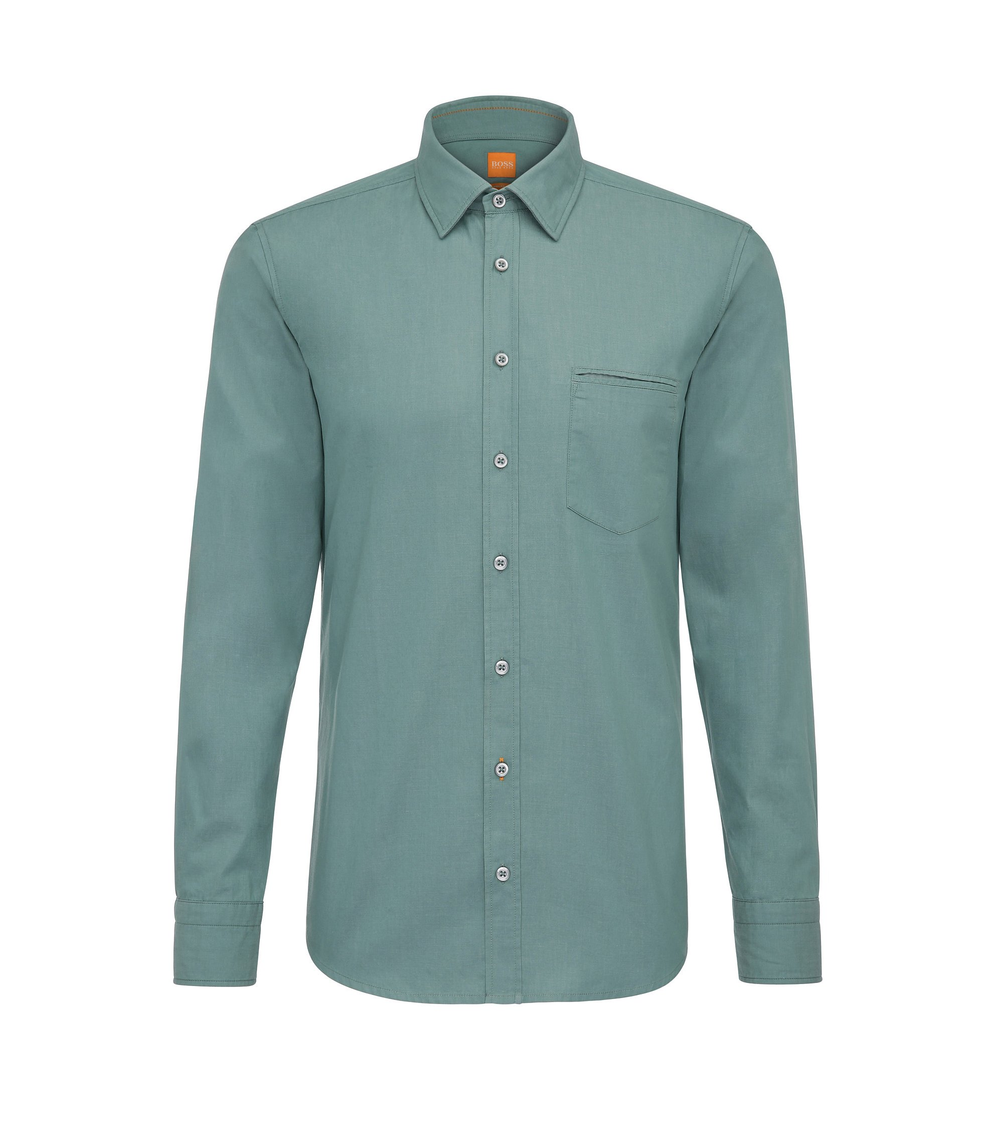 Chemise Regular Fit en coton tissé-teint, Turquoise