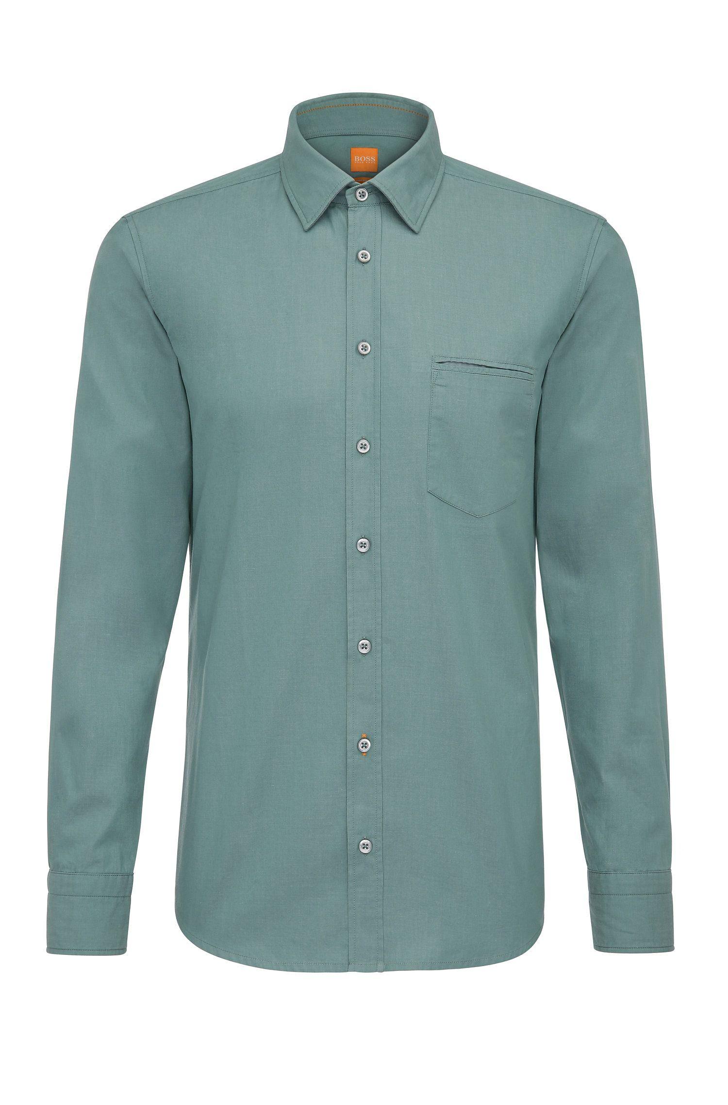Regular-Fit Hemd aus garngefärbter Baumwolle
