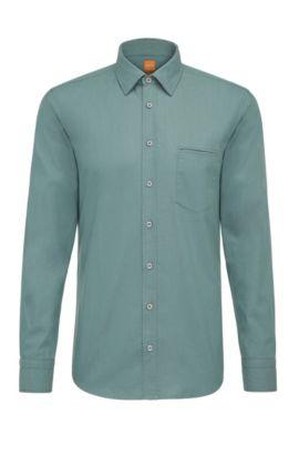 Regular-fit overhemd van garengeverfd katoen, Turkoois