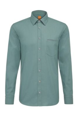 Regular-fit shirt in yarn-dyed cotton, Turquoise