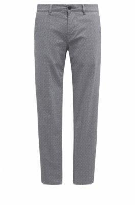 Pantalón tapered fit en algodón elástico, Negro
