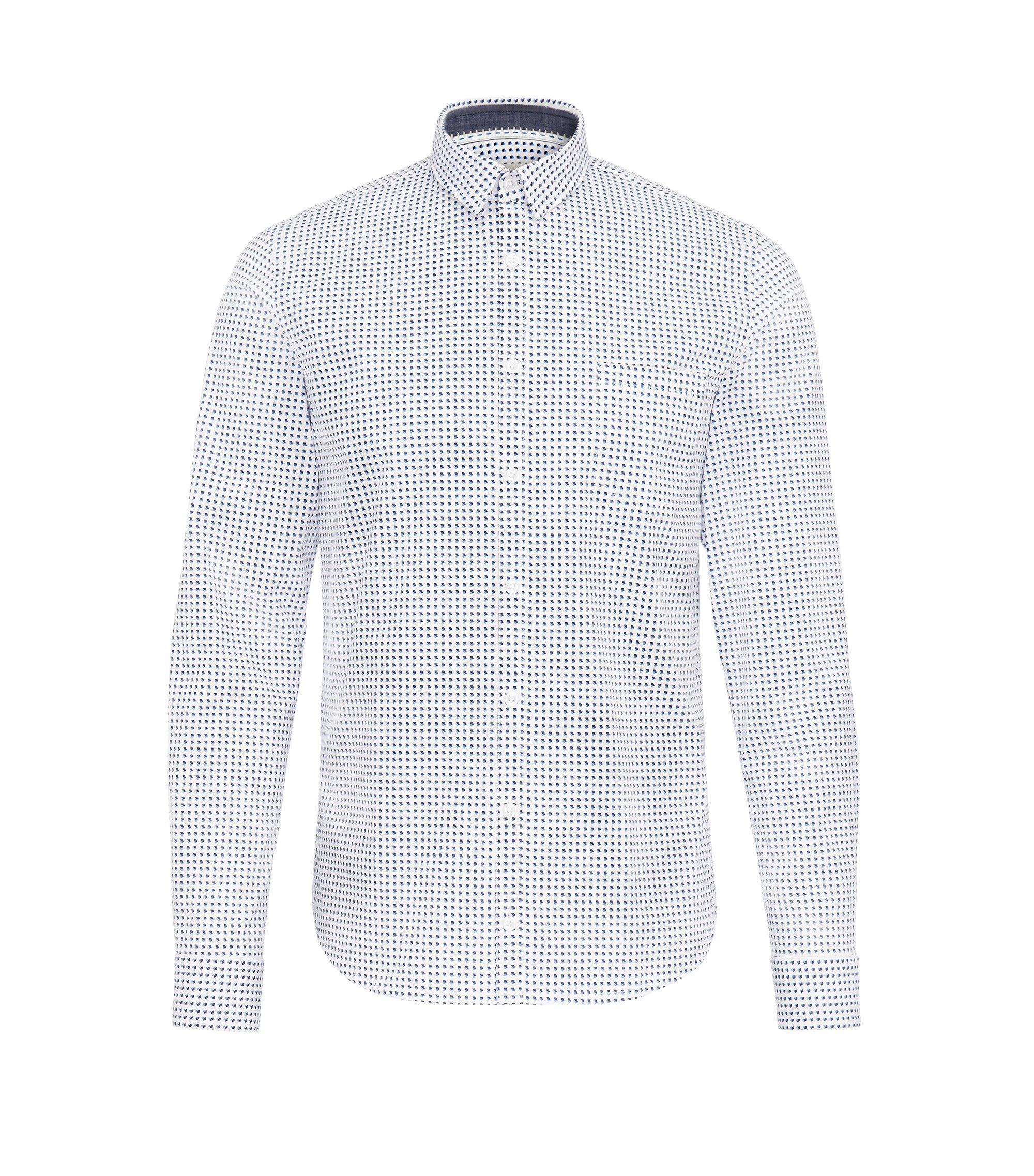 Camicia extra slim fit in cotone elasticizzato a disegni, A disegni