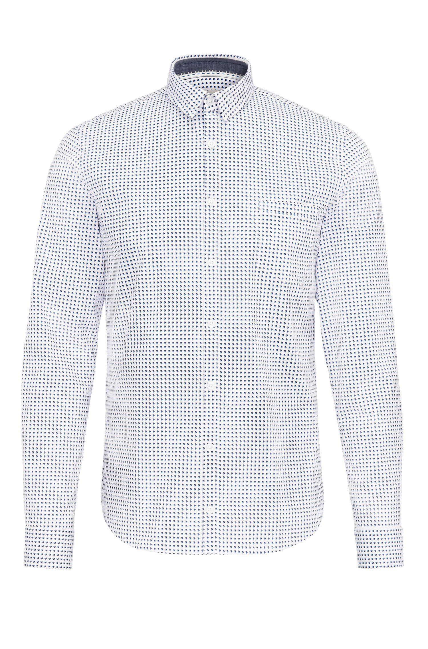 Camisa extra slim fit en algodón elástico de fantasía